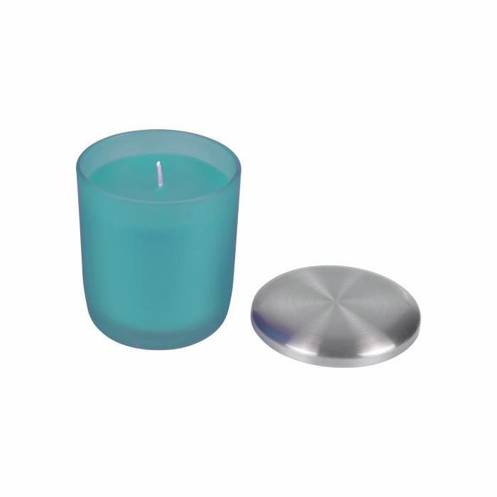 BOUGIE DÉCORATIVE Bougie verrine parfum pluie d'été H 9,5 cm Bleu