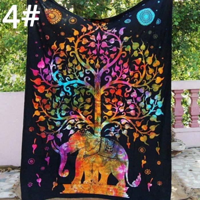 Indien Éléphant Mandala Tenture Murale Tapisserie Tapisserie serviette plage de coffre