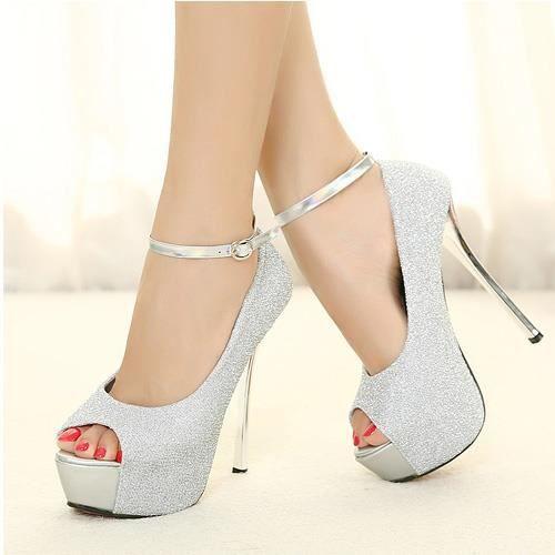 meilleure sélection 11365 cf5e3 Chaussure Femme sandales à haut talon sexy Gris