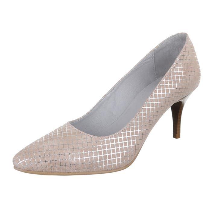 Chaussures femmes Escarpins cuir Talon haut Beige a7maB31MME