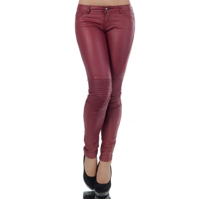 bed879d417dc8d FASHION BOUTIK pantalon details genoux bordeaux simili cuir sexy ...