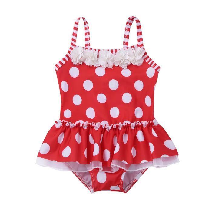 d7ab8b6c09740 Maillot de bain Bébé fille 1 pièce - sans manches à pois volants tissu  extensible - enfant de 3 mois à 3 ans