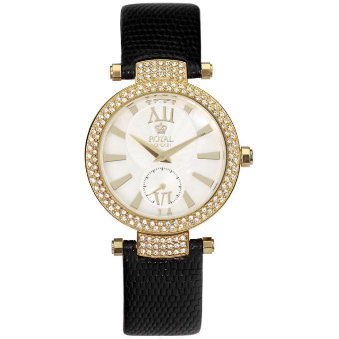 montre royallondon 20025-03 - montre cuir noire dorée femme