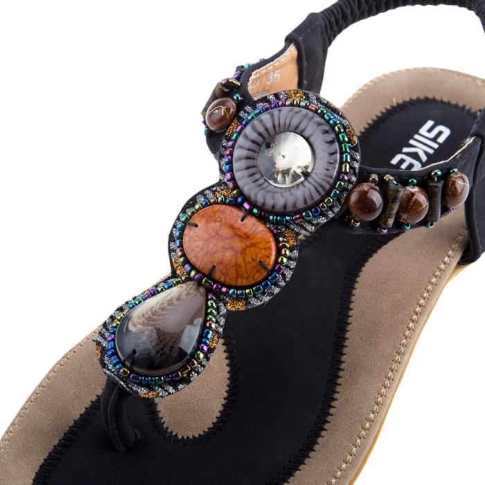 bascule SIKETU sandales conception Bohême strass dames de plage Glissement Hqw8Hza