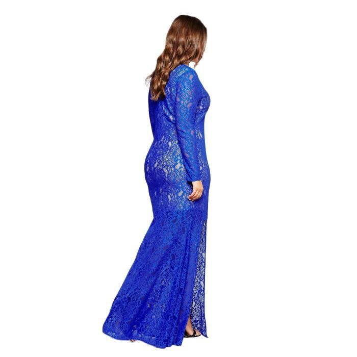 Robe Femmes Mode Lace Sexy Mince Solide Manche Longue
