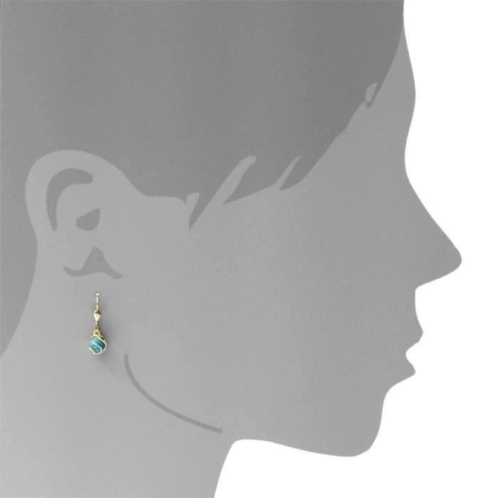 0050160102401 - Boucles Doreille Femme - Or Jaune 8 Cts 333-1000 - Turquoise IB8XG