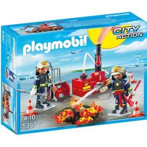 FIGURINE - PERSONNAGE PLAYMOBIL 5397 Pompiers avec Matériel d'incendie