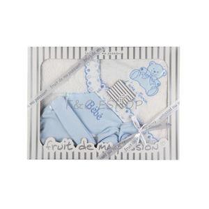 COFFRET CADEAU TEXTILE Coffret parure de bain naissance blanc/bleu 6 pcs
