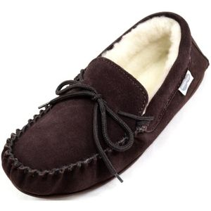 Suede Sheepskin Moccasin Slippers With Rubber Sole F2EMS Taille-44 1-2 2BPV6U