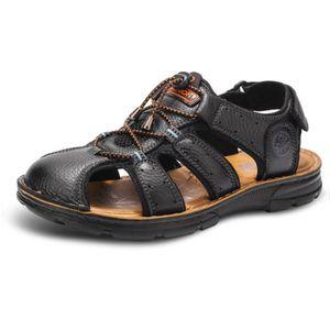640794ece4c0b WoWa® Sandales Homme pour Randonnée Casual Plage Toe Fermé Chaussures de  Sport en Cuir de
