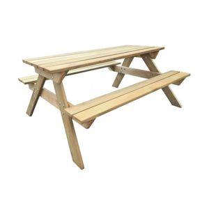 SALON DE JARDIN  Superbe Table de pique-nique en bois 150 x 135 x 7