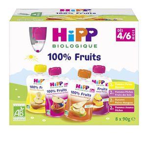 DESSERT FRUITS BÉBÉ HIPP BIOLOGIQUE Gourdes 100% fruits - Fruits varié