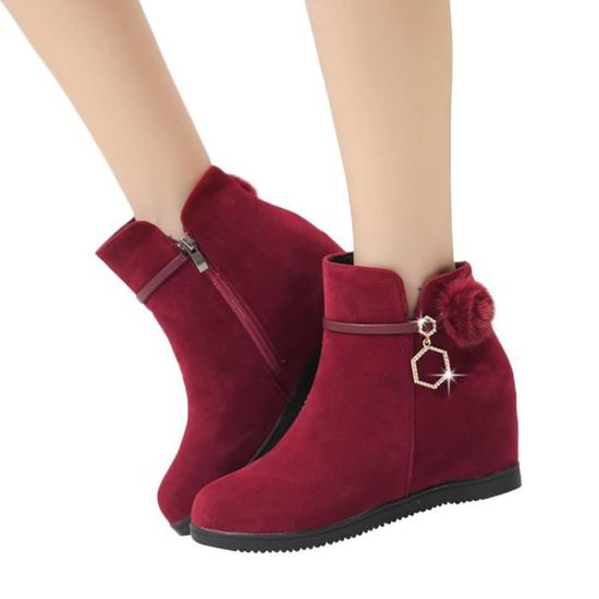 Bout Compensées Chaussures Hairball Suede Pure Martin rouge Color Femmes Bottes Spentoper Rond Zipper qw1UItC