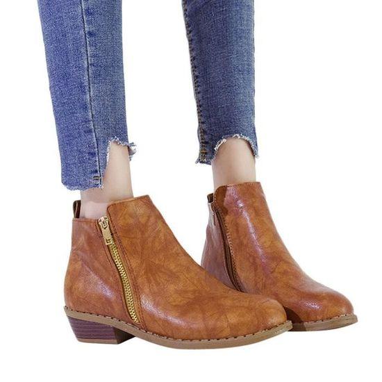 Simples Bottes Rond Martin En Cuir Chaussures Bout Carré Zipper Femmes Talon 7wxIZvZq