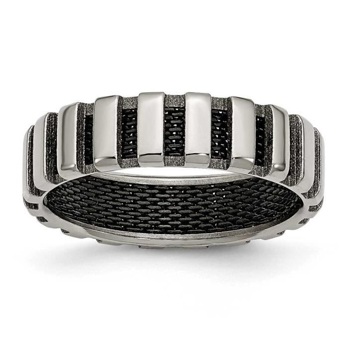 Titane et de fil noir 6 mm-Anneau ruban poli Taille M 50 1/2–JewelryWeb