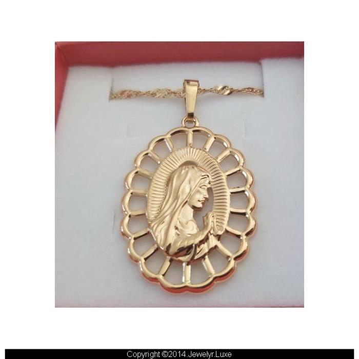 Lourdes Chaîne et médaille Vierge Marie Ronde Or Jaune Vermeil 24 Carats