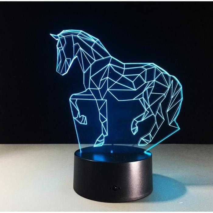 Lampadaire En Forme Bureau Cadeau Enfants Couleurs De Pour Cheval 7 Touch Chaise Acrylique Lampe Led nP8O0wk