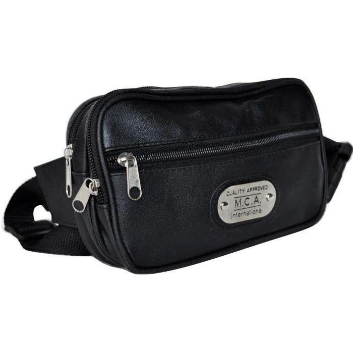 sac banane sacoche en cuir synthétique noir imperméable femme homme Fadel ( noir - TU) 74ec92d658c