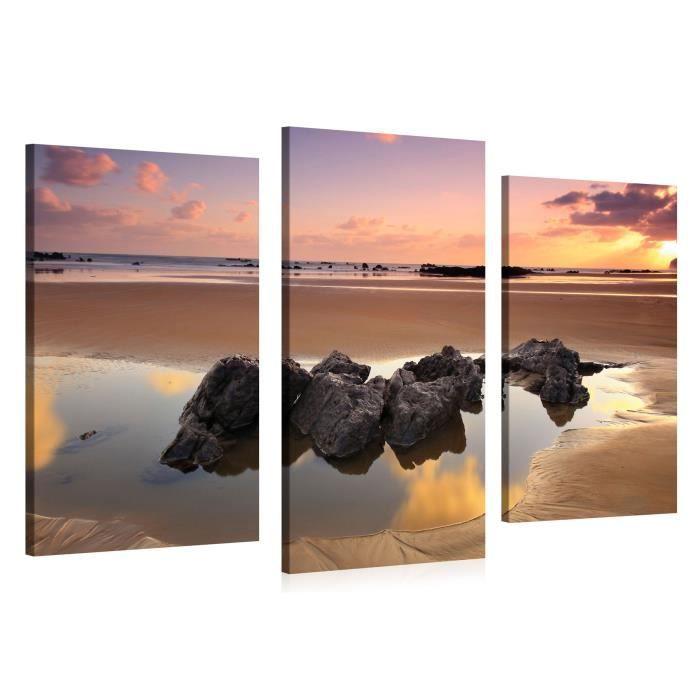 tableau sur toile tidal sunset 120x90cm achat vente tableau toile toile cdiscount. Black Bedroom Furniture Sets. Home Design Ideas