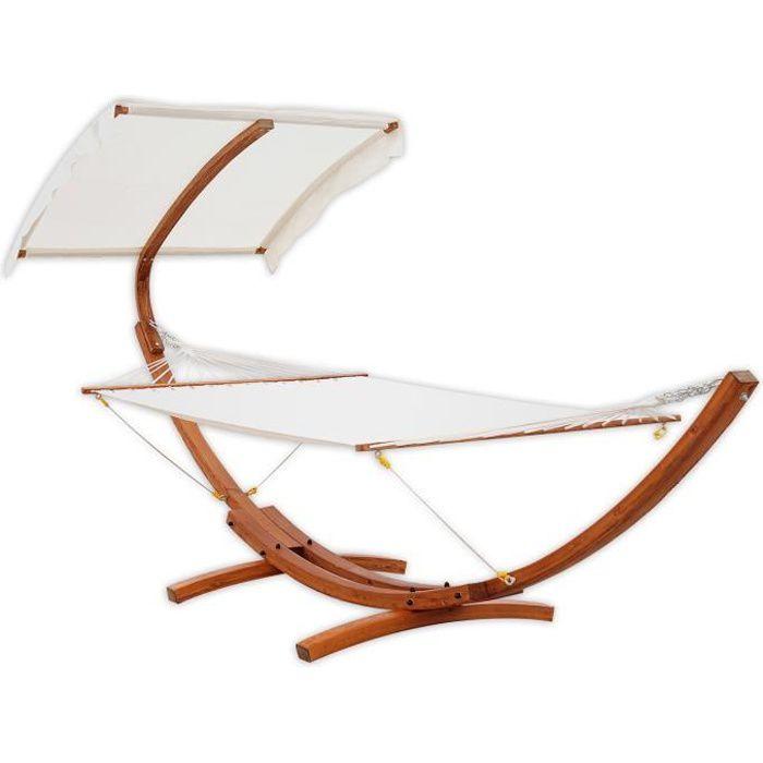 hamac de jardin avec support en bois et parasol ha - achat / vente