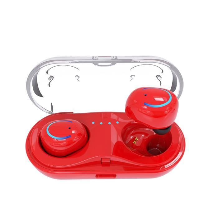 Hbq-q18 Casque Binaural Sans Fil Bluetooth Avec Écouteurs Rouge