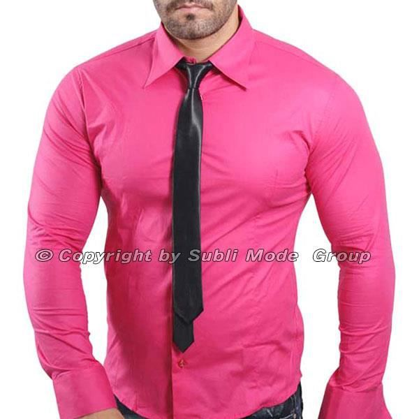 chemise cintr e homme slim fit rose fushia rose achat vente chemise chemisette cdiscount. Black Bedroom Furniture Sets. Home Design Ideas