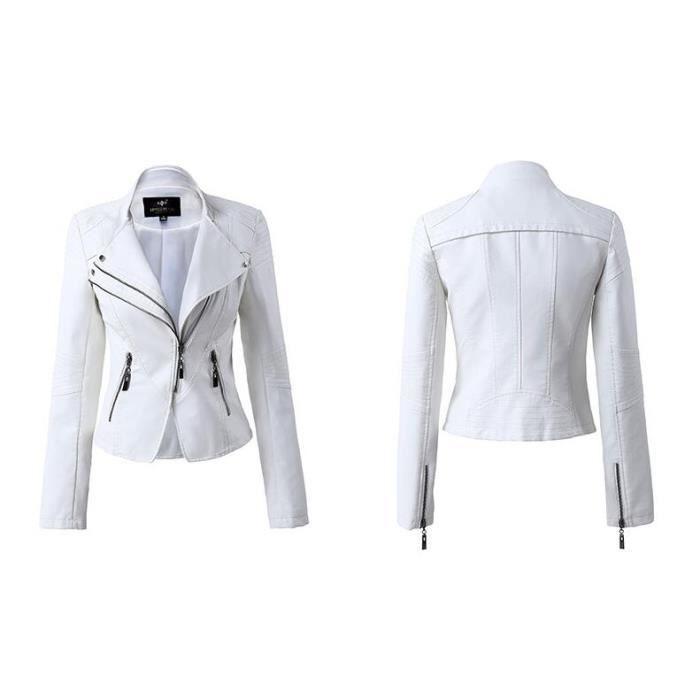 Revers Veste Manche Simple Mode Femmes Cuir Longue Casual Flavor SgnSqZ6xwC