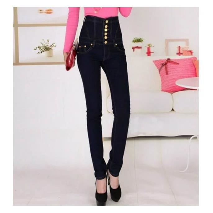 Européen Grande Taille 4 Pièces Pantalon Taille Haute Femme Mode Élasticité  Single-breasted Pantalon Pieds Longue Crayon Jeans Bleu- ad6c770aec25