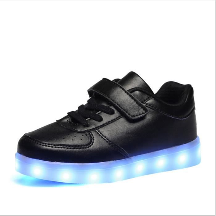 Bevoker Chaussure Led Enfant Garçons Filles Chaussures de Sport Lumineuses Lumière LED Fermeture Velcro