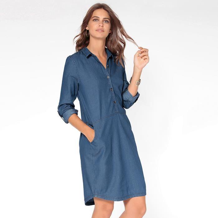 2f406d28f0fad Robe-chemisier en jean manches réglables femme Bleu Denim foncé ...