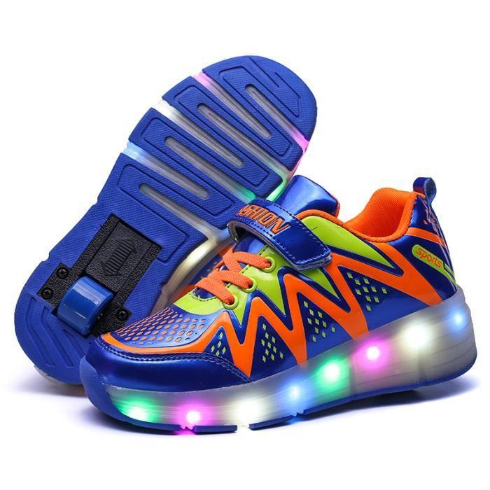 Sneakers Kids Chaussures légères LED Chaussures garçons Garçons avec chaussures automatiques de roues automatiques 5SaOf