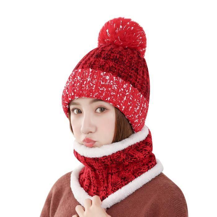 0757e71a65c Vbiger Bonnet Femme Hiver ensemble de bonnet et écharpe