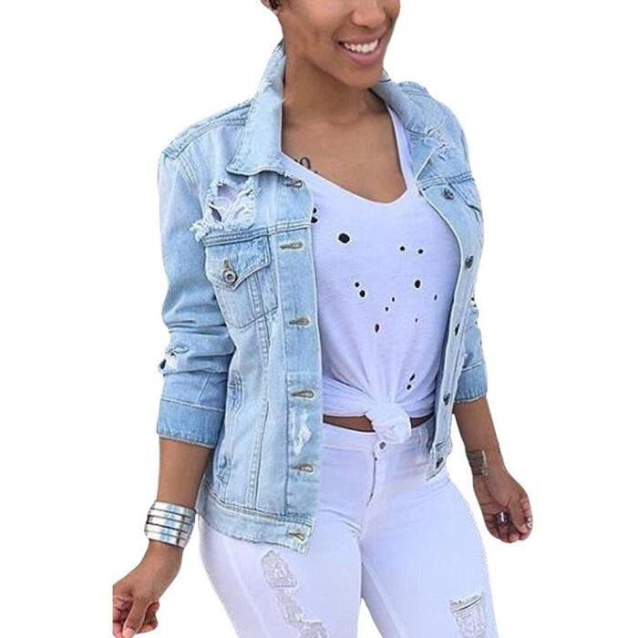 Minetom Lavés Veste Femme Automne Longues Retro Bouton Denim Manches Jeans Manteaux Blousons UMqSVpz