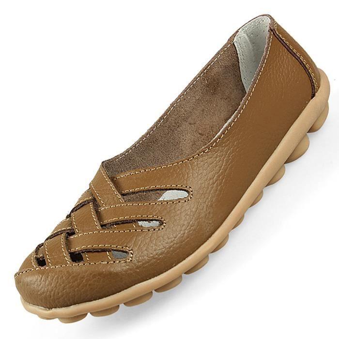 IN-TRAV INDEPENDENT TRAVEL sandale en cuir veritable pour femme sandales plate pour femme Chaussures pour ete - Kaki US7 = EUR38 = 0IwhuJ