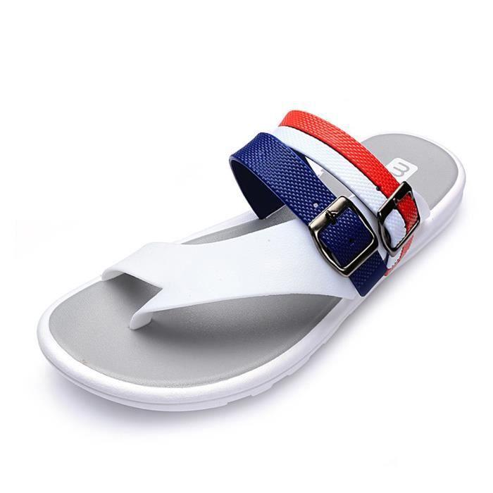 Casual hommes tongs plage sandales pantoufles été maison plat tongs chaussures XYM80313901WH blanc 0u2PtXRb