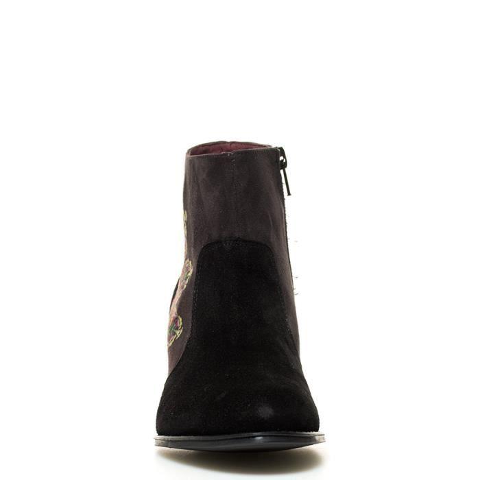 Desigual - Bottes en cuir noir talon Essentials Cris-hauteur: 6cm