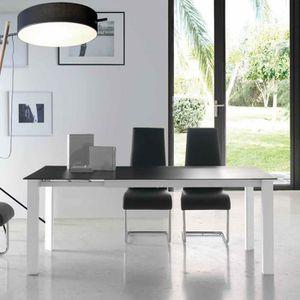 TABLE À MANGER SEULE Table extensible en verre noir et métal blanc EMER