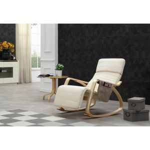 CHAISE Rocking-chair BLANC fauteuil relaxation avec organ