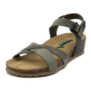 SANDALE - NU-PIEDS Sandale nu-pieds pour femme en cuir gris, BIONATUR
