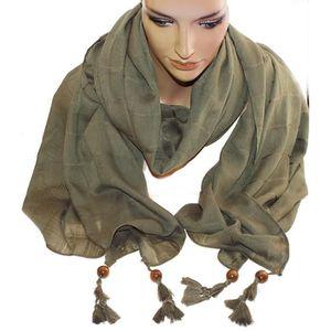 f9585ef73633 1 foulard kaki - fantaisie perle de bois sur chaque extrémité femme -  adolescente - 100% acrylique - L  200 cm - H  90 cm