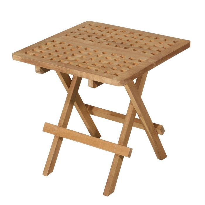 Plein air -Table pique-nique carrée - Structure en teck massif - Finition brute - Dimensions : 50 x 50 x 50 cm - Poids 5 kgTABLE DE PIQUE-NIQUE