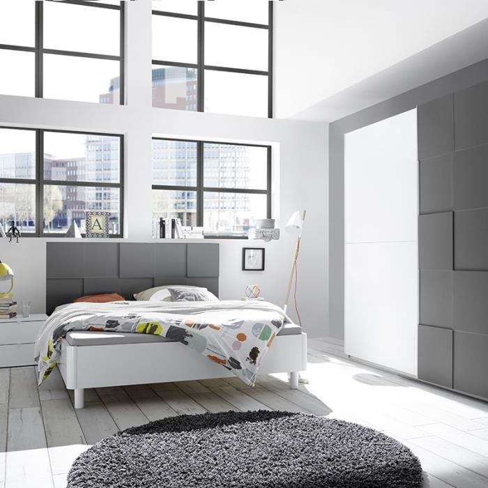 Chambre à coucher blanc et gris laqué TIAVANO lit 180 cm Gris L 210 x P 211  x H 116 cm