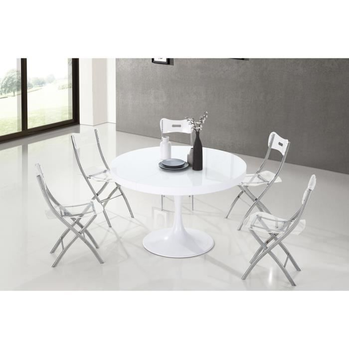 Emejing table a manger blanche ronde contemporary for Table a manger ronde bois
