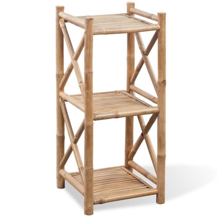 Etagere A 3 Niveaux En Bambou Pour Salle De Bain Ou Salon 35 X 35 X