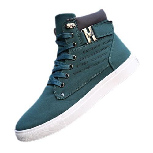 Baskets confortables casual chaussures en toile pour hommes, bottes d'hiver a la mode vert 10