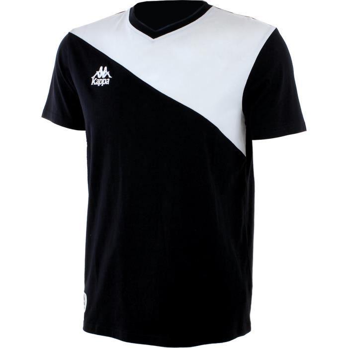 T-SHIRT MAILLOT DE SPORT KAPPA T-shirt Manches Courtes - Homme - Noir et Bl