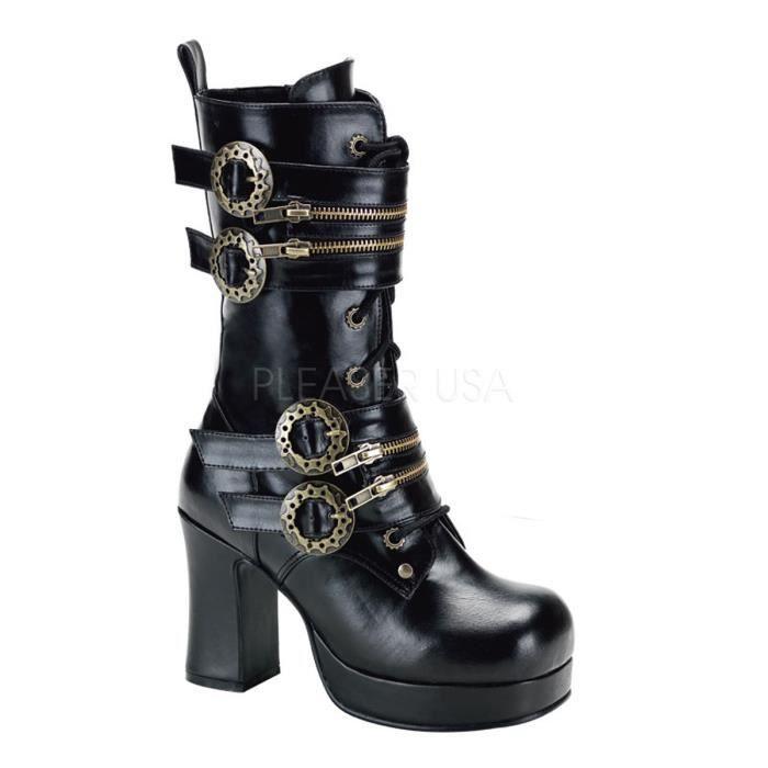 """Demonia GOTHIKA-100 3 3/4"""" Heel, P/F Steampunk Black Pu Calf BT W/ Gear Buckles"""