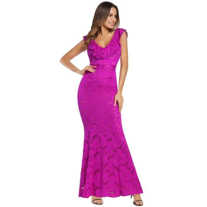 Frankmall®Femme sans manches floral dentelle formelle longue Party bal robe de soirée Rose chaud CQQ71219345HOT
