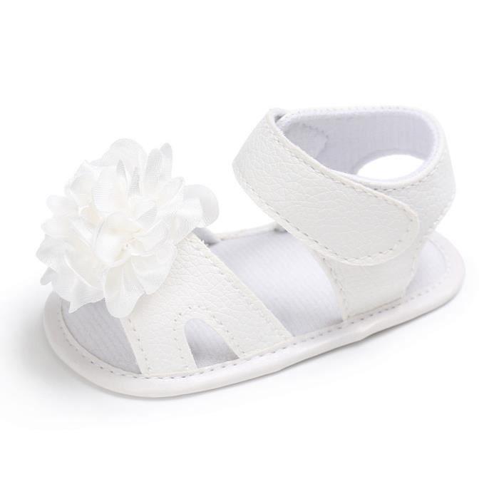 BOTTE Toddler Fille Crèche Chaussures Nouveau-Né Fleur Doux Semelle Anti-slip Bébé Sneakers Sandales@BlancHM