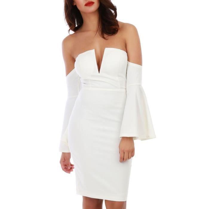 Robe blanche à épaules dénudées et manches volants-S